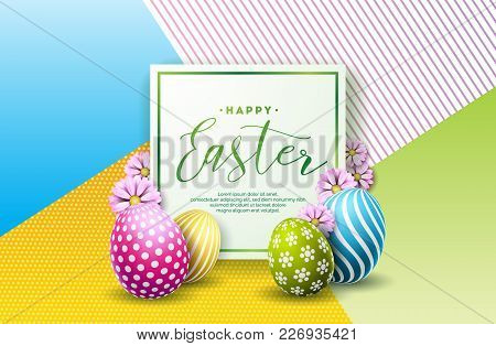 Vector Illustration Of Happy Easter Holiday With Painted Egg And Flower On Clean Background. Interna