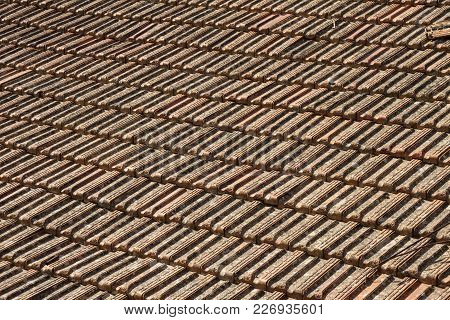 Old Red Slates On Top Of A Roof At A Chalet In Crete