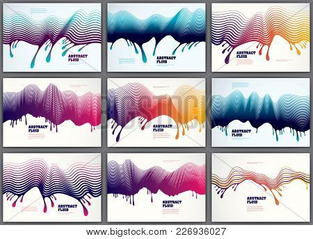 Lined Vector Wave Backgrounds Fluid Flow Set. 3d Dynamic Stripes Motion Art. Lined Texture, Dynamic