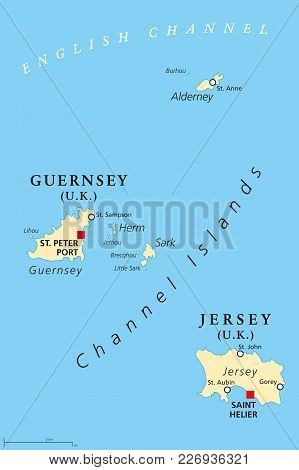 Guernsey And Jersey, Political Map, With Capitals. Channel Islands. Crown Dependencies. Archipelago
