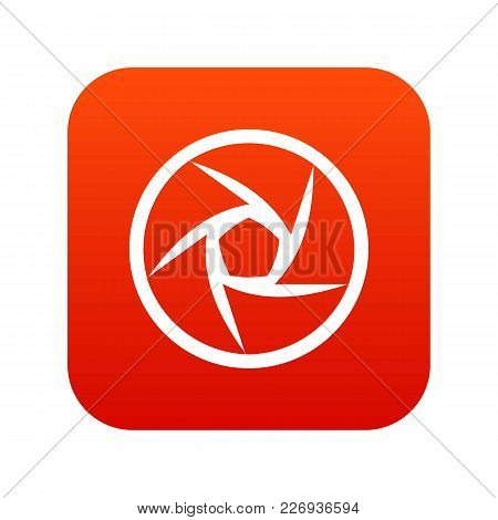 Video Objective Icon Digital Red For Any Design Isolated On White Vector Illustration