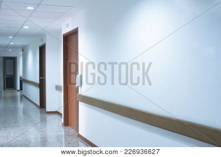 Corridor Interior Inside A Modern Hospital