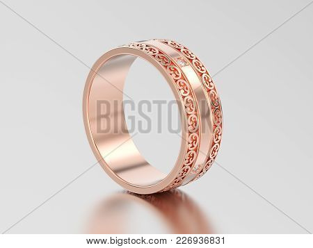 3d Illustration Rose Gold Decorative Wedding Bands Carved Out Ring With Ornament On A Gray Backgroun