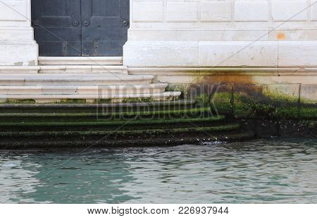 Stairs Of A Palace During The Low Tide In Venice Italy