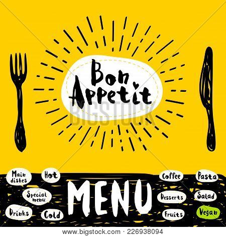 Bon Appetit Poster With Fork And Knife. Lettering, Calligraphy Logo, Sketch Style, Light Rays, Heart
