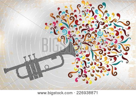 Retro Illustration Of Jazz Trumpet In Stamp Design With Colorful Swirls On Interesting Designed Back