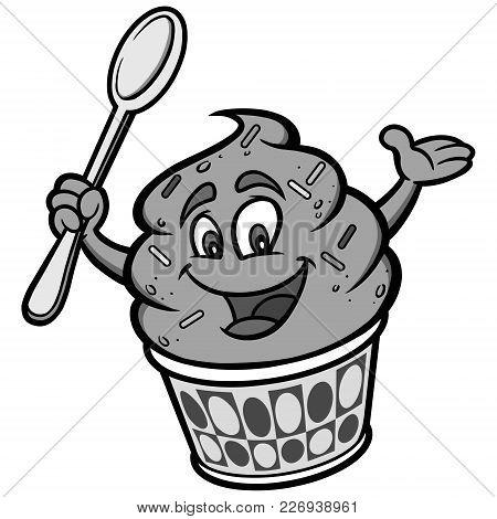 Frozen Yogurt Illustration - A Vector Cartoon Illustration Of A Frozen Yogurt Mascot.