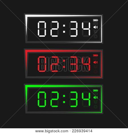 Colored Electronic Clock In Square Shape. Clock With Light On A Black Background.