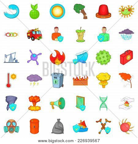 Backwater Icons Set. Cartoon Set Of 36 Backwater Vector Icons For Web Isolated On White Background