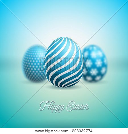 Vector Illustration Of Happy Easter Holiday With Painted Egg On Shiny Clean Background. Internationa