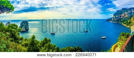 The View From Capri On Faraglioni Sea