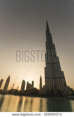 Dubai, Uae - May 7, 2015: View At Burj Khalifa In Dubai. This Skyscraper Is The Tallest Man-made Str