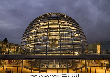Berlin, Germany - October 22, 2016: People Visit The Reichstag Glass Dome At The German Bundestag Pa