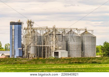 Agricultural Grain Dryer Complex. Modern Granary Towers.