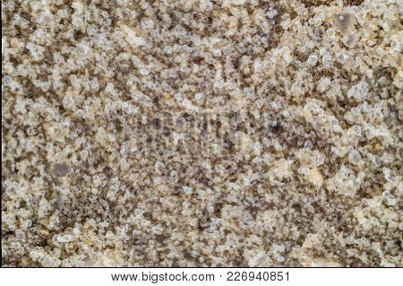 Natural River Sand Background. Grains Of Sand Close-up.
