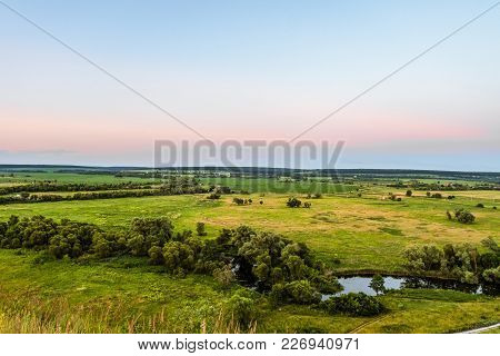 View Of Green Forest-steppe Plain. River Koren (root) Valley, Typical Landscape Of Belgorod Region,