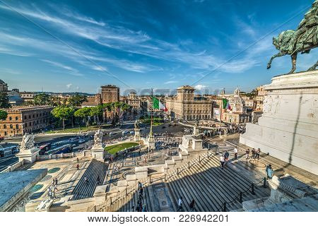 Rome, Italy - October 12, 2017. Tourists By Vittorio Emanuele Ii Statue In Altar Of The Fatherland