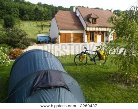 Bike, Tent And Big House