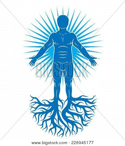 Vector Art Illustration Of Human Being Made Using Tree Roots. Eco Friendly Living, Human And Nature