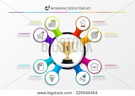 Organization Chart With 8 Steps. Infographic Template. Vector Illustration