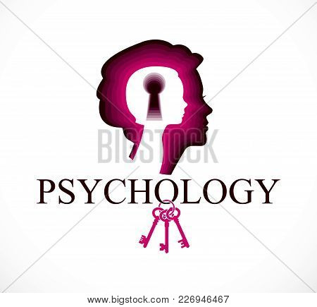 Psychology Vector Logo Created With Woman Head Profile And Little Child Girl Inside With Keyhole, In