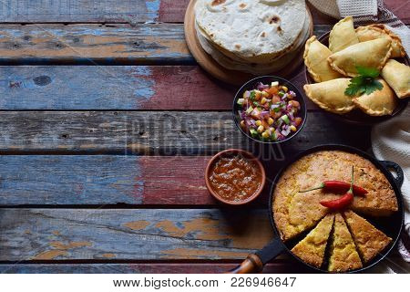 Mexican Food Mix - Tacos, Cornbread, Salsa With Tomato, Red Onion, Lime, Cilantro, Corn And Hot Pepp