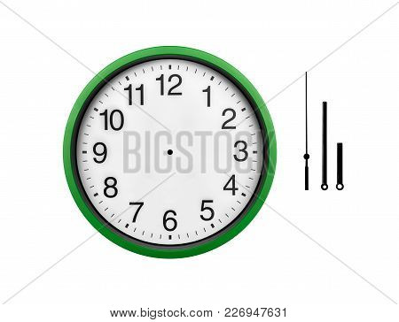 Green Wall Clock Isolated On White Background. Arrows Of A Clock On A White Background, For The Poss