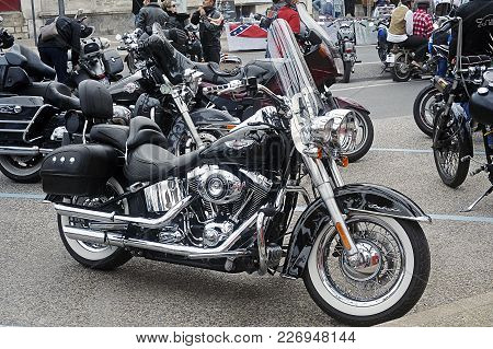 Beaucaire, France - April 30, 2016: A Harley-davidson Among Many Others In A Gathering Of American M