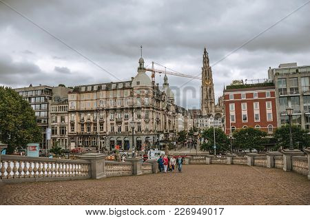 Antwerp, Northern Belgium - July 02, 2017. People And Old Buildings At The City Center Of Antwerp. P