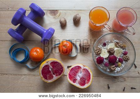 Health Food Concept For A High Fiber Diet With Fruit. Foods High In Anthocyanins, Antioxidants, Smar