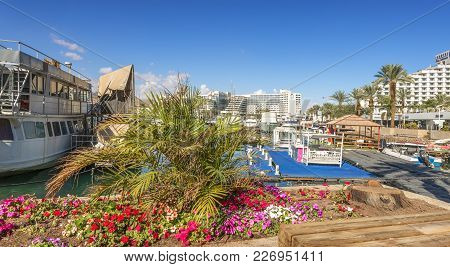 Eilat, Israel - February 15, 2018: Central Marina And Shopping Center In Eilat - Famous Resort City