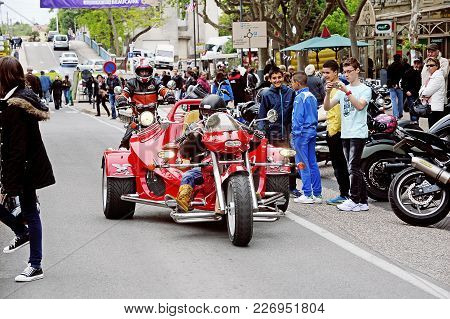 Beaucaire, France - April 30, 2016: A Tricycle To A Gathering Of American Motorcycle In The Town Of