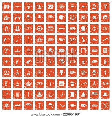 100 Top Hat Icons Set In Grunge Style Orange Color Isolated On White Background Vector Illustration