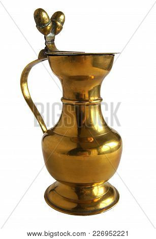 Vintage Bronze Or Brass Pitcher Decorated With Two Acorns Isolated On White Background