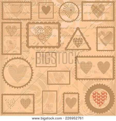 Vintage Background With Postal Marks And Hearts