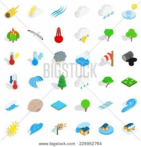 Calm Place Icons Set. Isometric Set Of 36 Calm Place Vector Icons For Web Isolated On White Backgrou