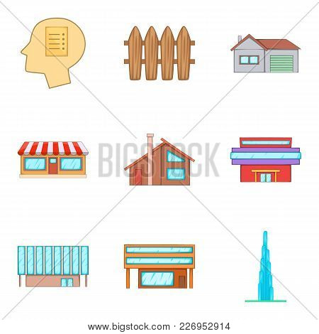 Real Property Icons Set. Cartoon Set Of 9 Real Property Vector Icons For Web Isolated On White Backg