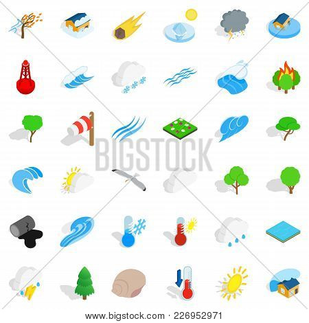 Calm Nature Icons Set. Isometric Set Of 36 Calm Nature Vector Icons For Web Isolated On White Backgr