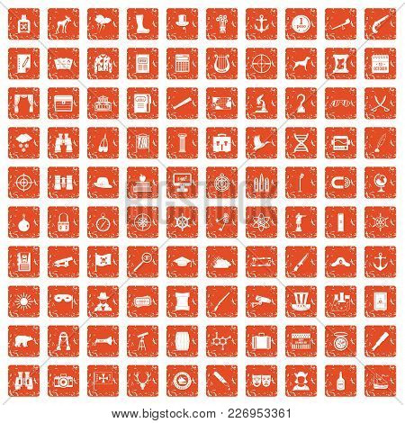 100 Binoculars Icons Set In Grunge Style Orange Color Isolated On White Background Vector Illustrati