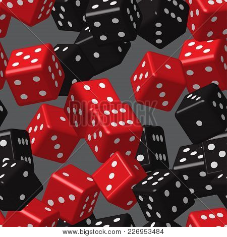 Red Black Dice Seamless Pattern On Grey Background