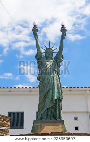 Statue Of Liberty, Bronze. Sculpture Inspired By Dalinian By The Artist Bartholdi In 1994. Cadaqués,