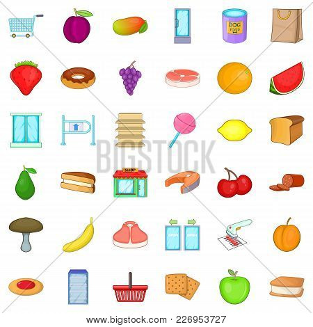Nature Meal Icons Set. Cartoon Set Of 36 Nature Meal Vector Icons For Web Isolated On White Backgrou