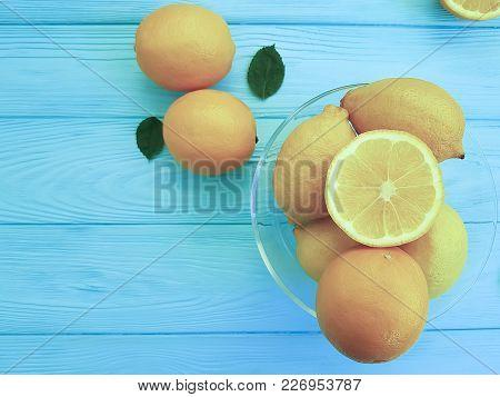 Lemons And Oranges On Blue Wooden, Wood, Background,