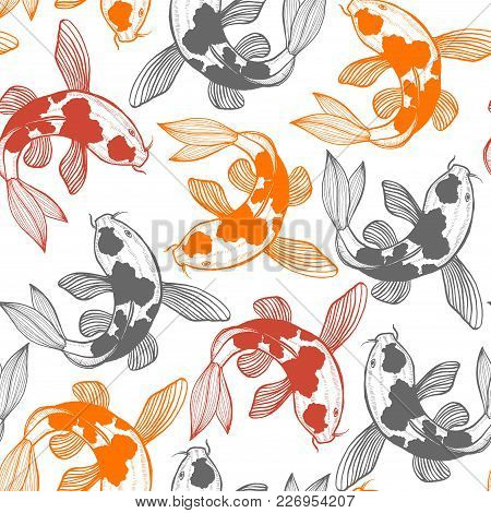 Seamless Pattern With Karp Koi. Fish Background In Hand Drawn Style For Surface Design Fliers Prints