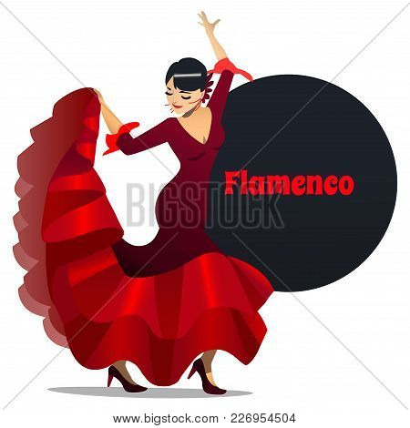 Flamenco Dancer. Dancing Girl In Cartoon Style For Fliers Posters Banners Prints Of Dance School And