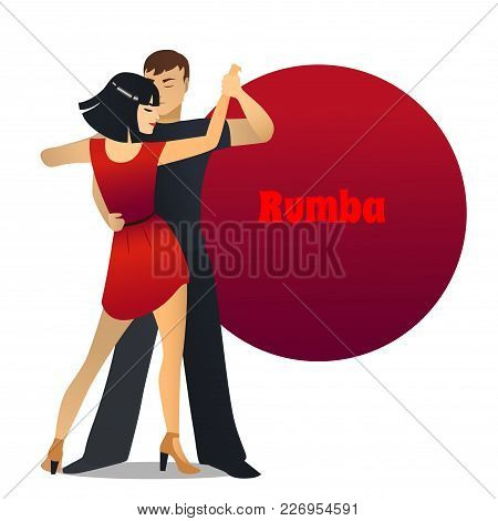 Rumba Dancers. Dancing Couple In Cartoon Style For Fliers Posters Banners Prints Of Dance School And