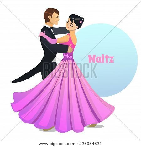 Waltz Dancers. Dancing Couple In Cartoon Style For Fliers Posters Banners Prints Of Dance School And