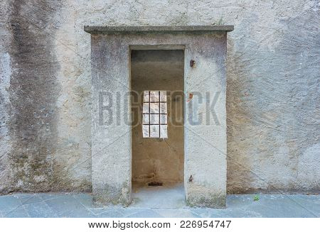 The Sentinel Room With The Window With Security Grating Of An Ancient Castle  /detail Of A The Senti