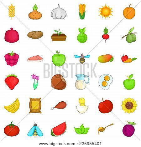 Natural Ration Icons Set. Cartoon Set Of 36 Natural Ration Vector Icons For Web Isolated On White Ba