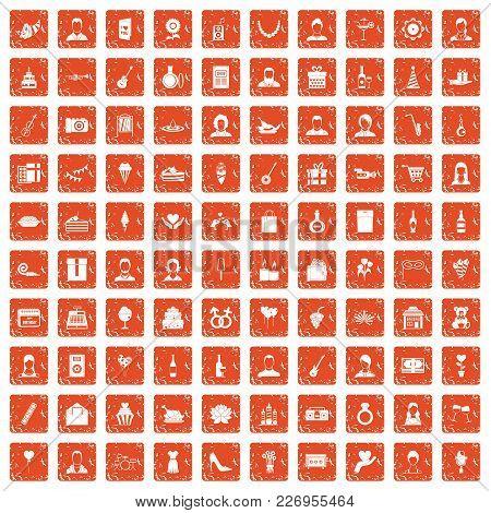100 Birthday Icons Set In Grunge Style Orange Color Isolated On White Background Vector Illustration